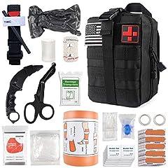 """Military Emergency Hemostasis Kit ▶ Contains Tourniquet, 6"""" Israeli Bandage, Splint, Knife, EMT Blunt Scissor, Wrinkle Bandage 3"""" x 5 yds, Gauze Roll 3"""" x 5 yds, Triangular Bandage, Emergency Blanket, Large Trauma Pad, CPR Mask, Band-Aids(30), Antise..."""