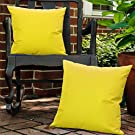 """Lewondr Waterproof Outdoor Cushion Cover, 2 Pack Solid PU Coating Throw Pillow Case UV Protection Garden Cushion Cover for Patio Sofa Couch Balcony 18""""x18""""(45x45cm) - Yellow"""