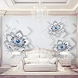 ZGHNZK Fototapete 3D Geprägte Blaue Blumen Perlen Und Juwelen Wandbilder Wohnzimmer Schlafzimmer Umweltfreundliche Wohnkultur 3D-260X160CM