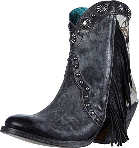 Corral Ld Black Studs & Fringes Ankle Boot J Toe ,Size 8.5