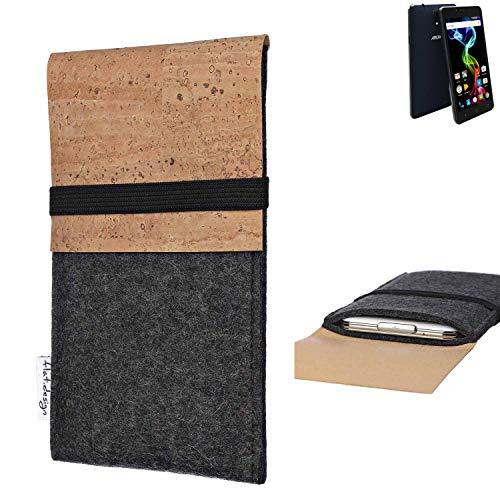 flat.design Handy Hülle SAGRES für Archos 55b Platinum Made in Germany Handytasche Filz Tasche Schutz Case fair Kork