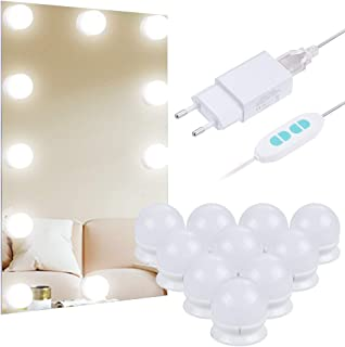 Anpro Luces LED Kit de Espejo con 10 Bombillas regulables3 Modos Ajustable de Color de LuzLuz Espejo MaquillajeTocador...