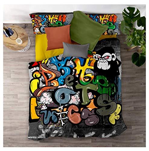 Timiany Set Biancheria da Letto Copripiumino Microfibra, Set Biancheria da Letto Graffiti Hip Hop 3D Copripiumino E Federe in Morbida (Graffiti,155x220+50x75)
