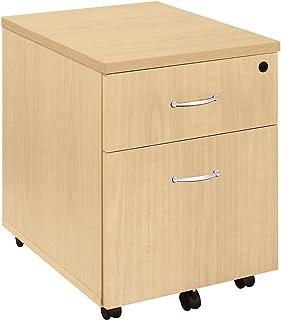 EOL Caisson mobile en bois - 3 tiroirs -Corps façon chêne clair - piétement blanc - caisson de bureau armoire de bureau mo...