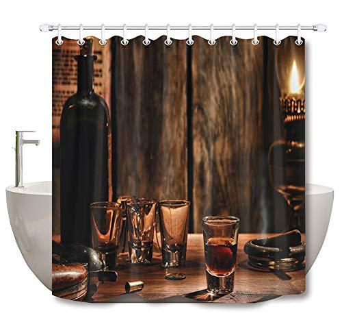 ZZZdz lamp voor petroleum, kerosine, wijnfles douchegordijn 180 x 180 cm. Meubeldecoratie 3D-print in High Definition badkameraccessoires