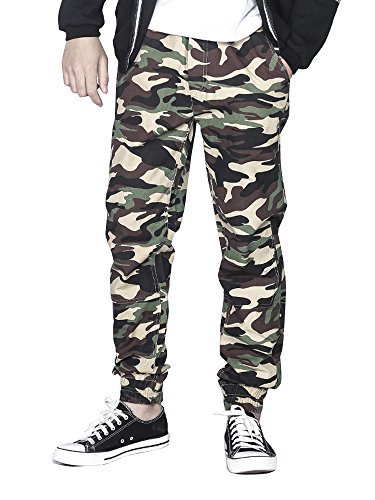 OCHENTA Men's Casual Twill Drawstring Jogger, Slim Fit Tapered Chino Pants #1235 Khaki Camo Tag 34 – US 32