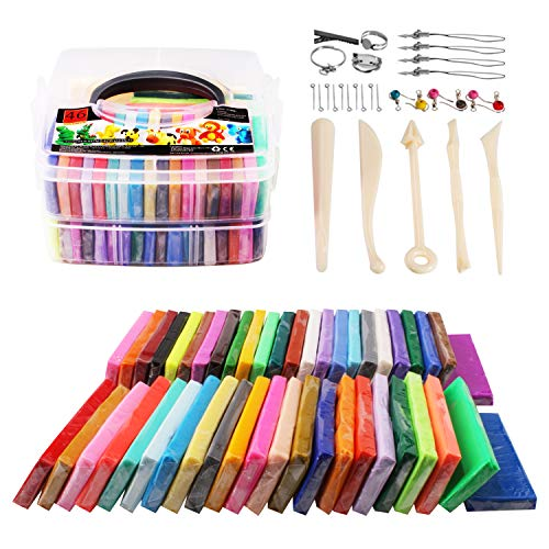 Polymer Clay-SUNNOW 46 Colours Modelling Clay Blocks DIY Craft Clay Kit Soft and Nontoxic Oven Bake with Clay Tools and Accessories Best Gifts for Kids Bright Color 46 Colors