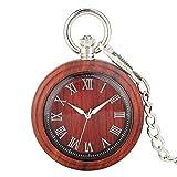DZX Excelente Reloj Colgante con punteros de luz Nocturna para Esposo, Reloj de Bolsillo clásico de Cuarzo de ébano Rojo para Dama, Esfera Grande con números Romanos, Relojes de Bolsillo para mu
