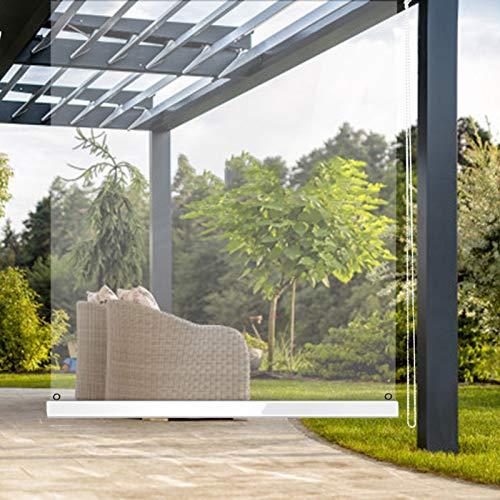 Lqdp Estores Enrollables Persianas Enrollables Transparentes para Patio Exterior Gazebo, Persiana Enrollable Impermeable de PVC con Ojales Fijos y Accesorios, 145cm/125cm/85cm de Ancho