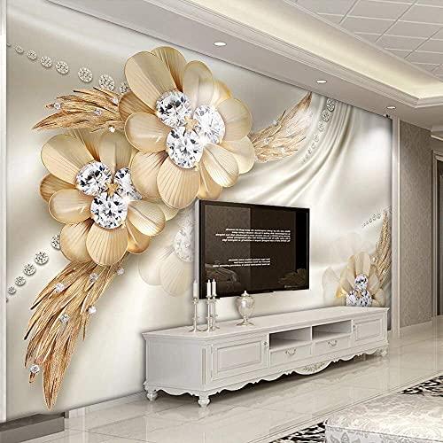 Equipo de Vida Papel Tapiz 3D Personalizado Flor de Diamante Dorado Joyería Pintura de Pared Grande Sala de Estar TV Papel Tapiz Mural de Escritorio