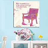 Abstract Vintage Flower Pink Chair Pittura Pittura a olio Citazioni Stampa su tela Poster da parete per soggiorno Cuadrs Decor 60x60 CM (sans cadre)