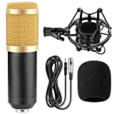 BM-800 Professional Cardioid Studio Condenser Microphone Bundle, with Shock Mount and Windproof Cotton for Studio Recording & Broadcasting (Black)