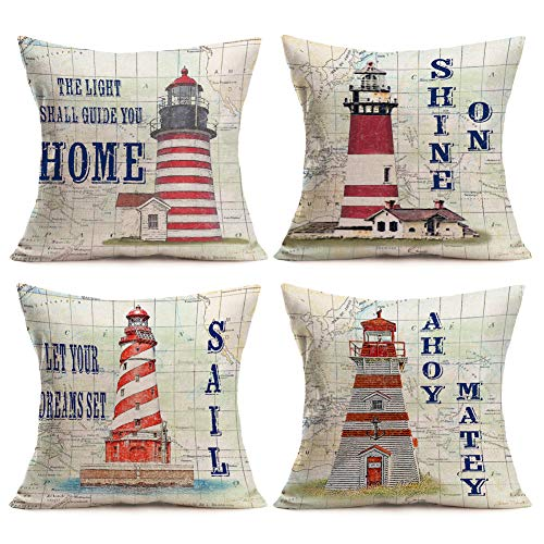 Aremazing Modern Nautical Lighthouse Theme Home Decor Pillowcase Compass Map and Warm Letters Cotton Linen Throw Pillow Case Cushion Cover 18''x18'' Set of 4,Pharos Keeper
