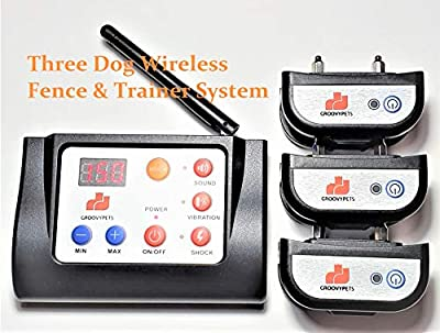 GROOVYPETS Electric Wireless Dog Containment Fence & Remote Training Shock Collar No Bark Trainer E Collar Combo for Small Medium Large Dog (3-Dog Set)