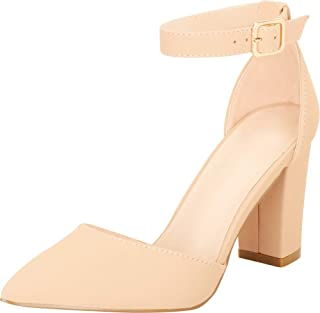 Cambridge Select Women's Pointed Toe D'Orsay Ankle Strap Chunky Block Heel Pump