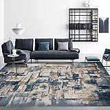 Qutdoor-QJ Alfombra De Salón Moderna Alfombra Pelo Corto Acuarela Abstracta Simple Gris Cemento Azul Oscuro Dormitorio Lavable Mat Moqueta 140×200CM (4ft7 x 6ft7)