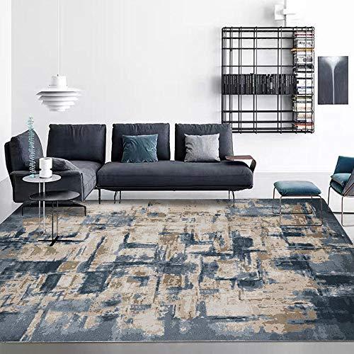 Qutdoor-QJ Moderno Alfombra Antideslizantes Pelo Corto Alfombra Acuarela Abstracta Simple Gris Cemento Azul Oscuro Super Suave Sala de Estar Dormitorio Alfombra 160×200CM (5ft3 x 6ft7)