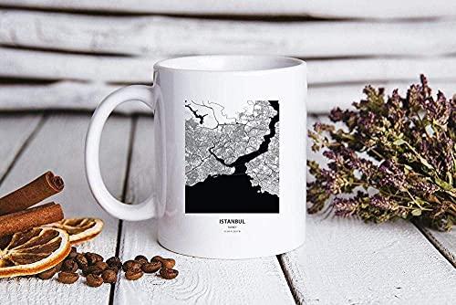 Taza de cerámica de vidrio para café, té / vino, para mudarse a Estambul Turquía Mapa de regalos Mudarse a Estambul Turquía Mapa Taza de 11 oz Taza de té de café Regalo de cumpleaños de vacaci
