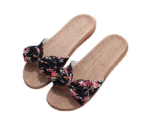 xsby Pantufas femininas aconchegantes de algodão para uso interno, chinelos de linho para casa, sandálias casuais antiderrapantes, Black a, 8-9.5