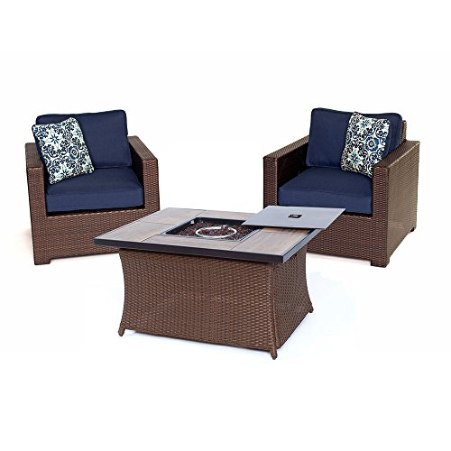 Hanover MET3PCFP-NVY-A Metropolitan 3 Piece Chat Set with LP Gas Fire Pit Table, Navy Blue Outdoor Furniture