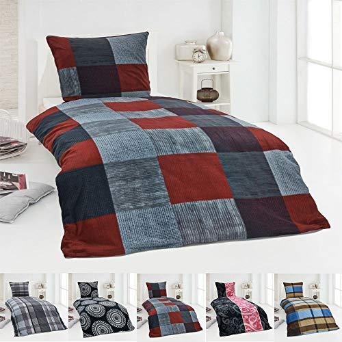 Dreamhome Warme Winter Microfaser Thermo Fleece Bettwäsche 135x200 155x220 200x200 Moderne, Design - Motiv:Design 2, Größe:135 x 200 cm