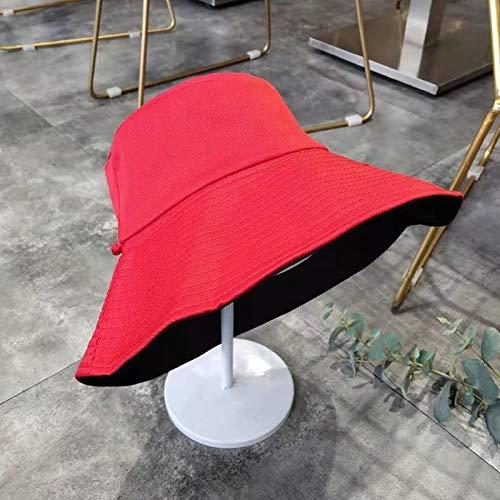 Sombrero Salvaje Coreana del Sombrero de Doble Cara Femenina del Verano Cubre la Cara Japonesa literaria de ala Ancha Sombrero for el Sol Sombreros del Cubo del Verano ACDES