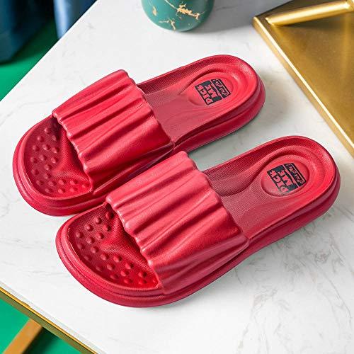 Interiores Antideslizantes Baño Sandalia,Zapatillas de baño Suela Blanda, Sandalias de Suela Gruesa para Parejas en casa-Red_37-38,Mujer Hombre Zapatos de baño