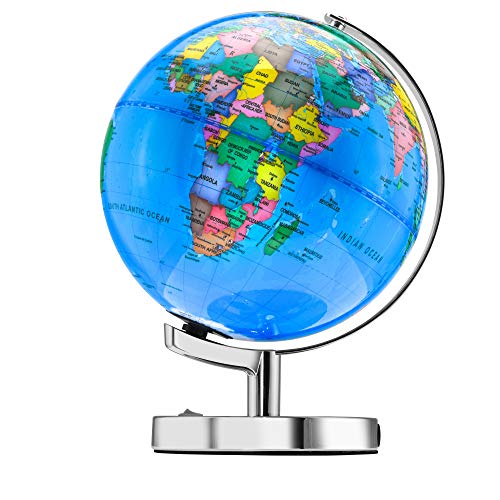 Little Chubby One 15 Inch (12 Inch Dia) Illuminated LED World Globe for Kids & Adults - STEM - Colorful Informative Easy to Read Light Up Globe Lamp with Stand for Learning Education and Night Light