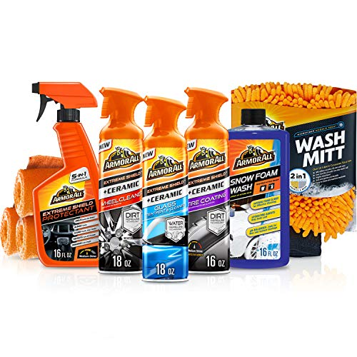 Armor All Ultimate Car Detailing Kit (9 Items) – Ceramic Glass Cleaner, Car Wash, Wheel and Tire Cleaner, UV Protectant, 4 Microfiber Accessories, 19464
