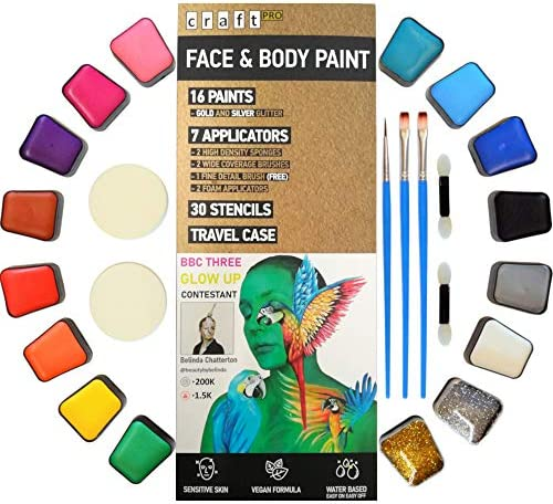 Craft Pro Face Paint 54 Pieces Sensitive Skin Approved Vegan Cruelty Free Easy ON Easy Off Water product image