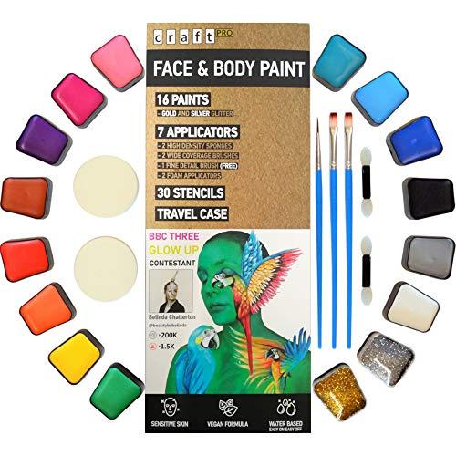Kinderschminke Set - 52 teilig. Vegane Formel - für empfindliche Haut geeignet. (16 Gesichtsfarben,...