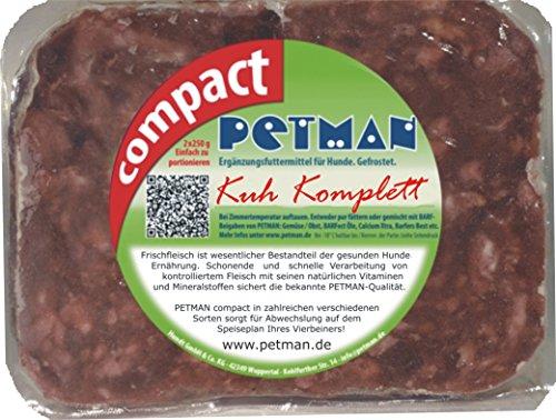 petman compact Kuh komplett, 12 x 500g-Beutel, Tiefkühlfutter, gesunde, natürliche Ernährung für Hunde, Hundefutter, Barf, B.A.R.F,