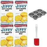 Jiffy Corn Muffin Mix 8.5oz - Pack of 4 (Including Non-Stick Muffin Baking Pan & Silicone Mixing Spatula) America's Favorite Corn Muffin Corn Bread Mix Kit