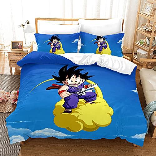Juego de Ropa de Cama en Dragon Ball Fundas de Nórdicas Goku,Cielo Azul Paisaje Niños...