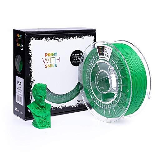 Print with Smile 3D Drucker PLA Filament | 1,75 mm für 3D Printer und 3D Stift | hochwertig Filament für 3D-Drucker und 3D-Pen 500 g (Green)