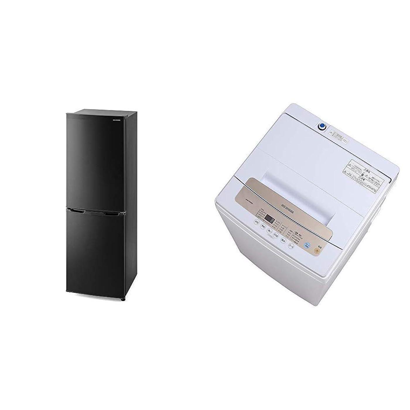 脳驚いたことに経験的【セット買い】アイリスオーヤマ 冷蔵庫 162L 静音 省エネ ノンフロン 冷凍冷蔵庫 ブラック IRSE-16A-B & 全自動洗濯機 一人暮らし 5kg 簡易乾燥機能付き IAW-T502EN
