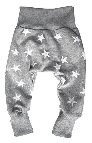 Wollhuhn ÖKO Warme, lässige Pumphose Sweat Stars grau/weiß für Jungen und Mädchen (aus Öko-Stoffen, Bio), 20160309, Größe: 68 (ca. 6-12 Monate)