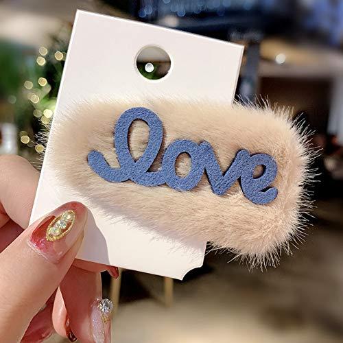 WREIJH Mode Amour Lettre Épingle À Cheveux Barrettes BB Clip Automne Et Hiver Simulation Lapin Clip Barrettes Cheveux Accessoires, Beige