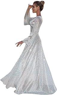 فستان أنيق للنساء فستان ترتر فضي فستان نسائي مثير بأكمام طويلة ورقبة على شكل حرف V فستان نسائي ضيق طويل