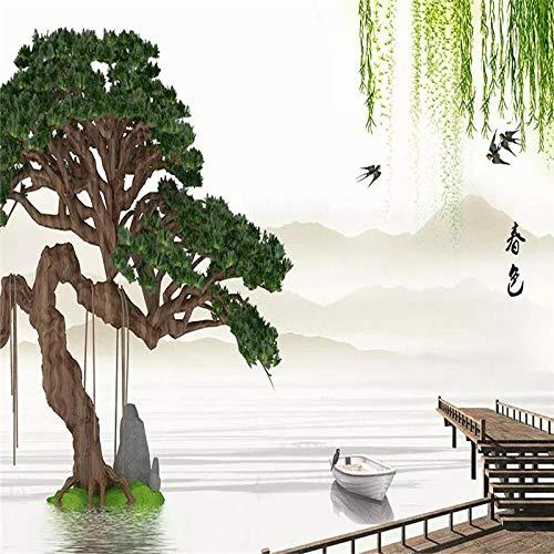 HDDNZH muurschildering Custom 3D grote muurschildering behang Hd Chinese landschap Pine Willow TV sofa achtergrond muur kantoor woonkamer huis decoratie 300cm(H)×500cm(W)