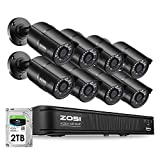 ZOSI H.265+ 5MP PoE Security Camera System for Home, 8CH Ultra HD NVR, 8X 5MP(2K) PoE IP Camera Outdoor Indoor, 120ft Night Vision, 2TB HDD for 24/7 Recording, Remote Control, Motion Detection