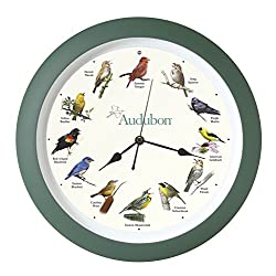 Mark Feldstein & Associates Audubon Singing Bird Wall Clock, 13 Inch