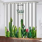 ZZDXL Cortinas Habitacion Cactus Cortinas Dormitorio Moderno Resistente Al Calor Y La Luz Cortinas Cocina con Ojales Cortinas Opacas para Habitación Decorativa 150 X 166 Cm