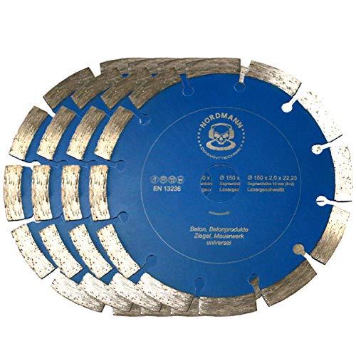 Nordmann SF-150 - Disco de corte de diamante para fresadora Bier BDN (4 unidades, 150 mm de diámetro)