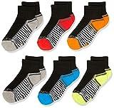Fruit of the Loom Boys' 6-Pair Half Cushion Ankle Socks, black assort, Large (Shoe Size: 3-9)