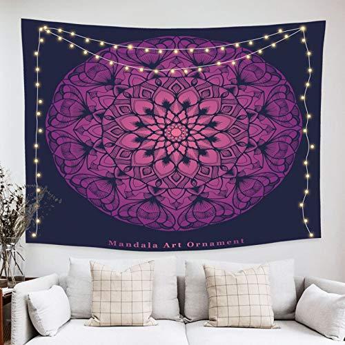 onetoze Tapiz Mandala Tapiz Violeta Colgante de Pared Tapices de Pared Decoración para Pared y Habitación Dormitorio Salon Sala de Estar, 130x150cm