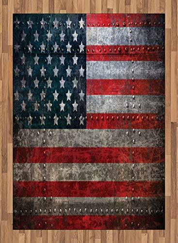 ABAKUHAUS Bandera Americana Alfombra de Área, Realeza Bandera de EEUU Fondo Texturado Placas Dañadas Diseño Arte Imagen, Ideal para Sala de Estar o Comedor Resistente a Manchas, 160 x 230 cm, Rojo
