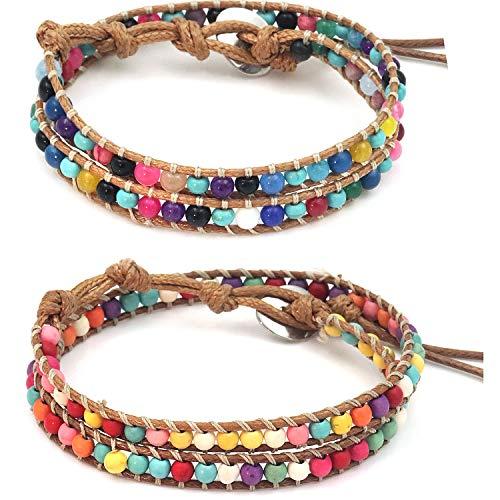 Suyi Handmade Bead Bracelet 2 Pieces Colorful Best Friend Stone Woven Rope Bracelet Set Adjustable Boho Friendship Jewerly for Women 2Pcs