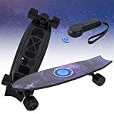 Electric Skateboard with Remote Control,3 Speed Modes Special Fishtail Standard Skateboard,21 MPH Top Speed & 7 Miles Long-Range,IP64 Waterproof Case,Max Load 180lb for Kids Campus Teenagers Adult