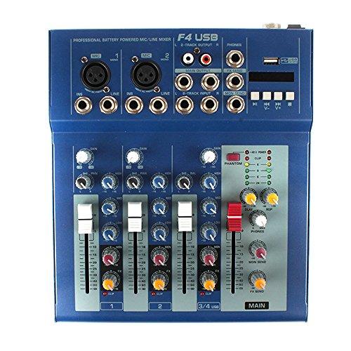 Vogvigo Mini Audio Mixer Consola de mezcla profesional Mezclador de audio de 4 canales en vivo Función de EQ USB de 3 bandas Afinador
